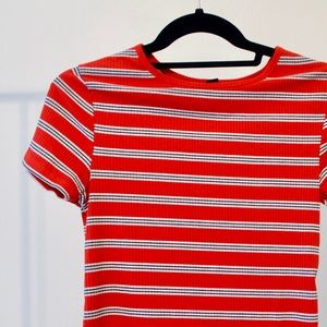 Red Striped Retro Style Shirt, 70s Style